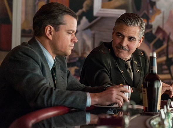 Matt Damon y George Clooney en 'The monuments men'