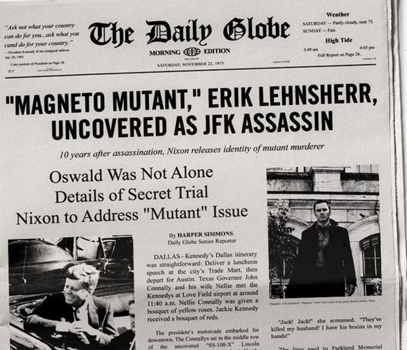 Portada del periódico sobre Magneto y Kennedy