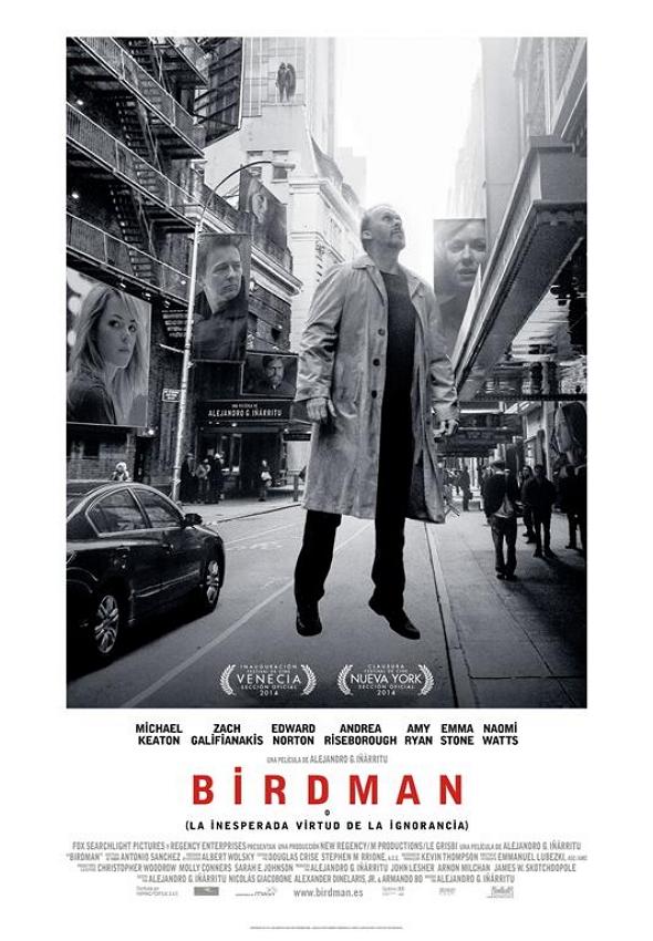 Póster en español de Birdman, con Michael Keaton