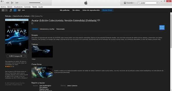 Edición coleccionista de Avatar  en Itunes Store