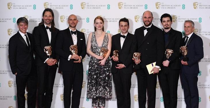 El equipo de 'La ciudad de las estrellas', gran triunfador de los BAFTA