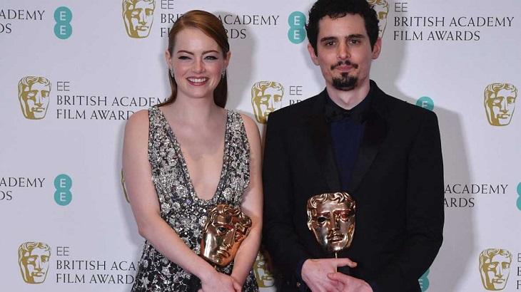 Damien Chazelle junto a Emma Stone